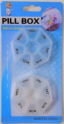 2Pk Weekly 7 Day Pill Boxes - Medicinal Organiser Homeware Work Travel Case Home