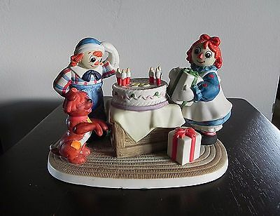 RAGGEDY ANN & ANDY Flambro 70 YEARS YOUNG FIGURINE Happy Birthday