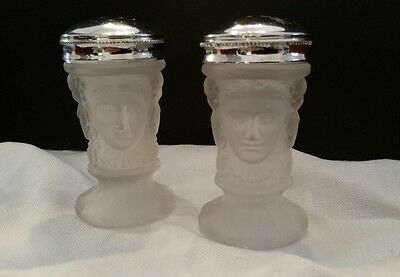 L.G. Wright GLASS Satin Frosted Salt Pepper shaker set 33 Three Faces