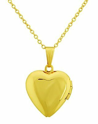 Heart Shape Locket Pendant Necklace Keep Lover Photo with 18-Inches Cable Cha...