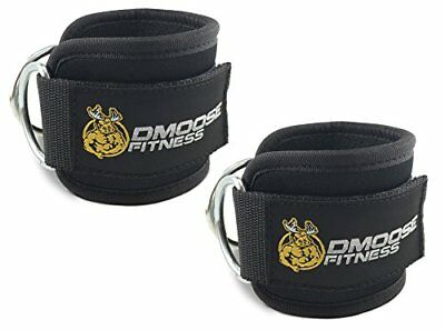 Ankle Straps for Cable Machines by DMoose Fitness (Black Pair)