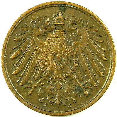 1910-J Germany - Empire  2 Pfennig  Km# 16  An Extra Nice Coin Mintage - 568,000