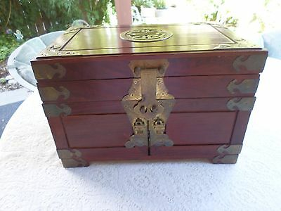 "Vintage Mahogany Finish  Wood Jewelry  Box Chest Cabinet 10"" X 14"" X 9"""