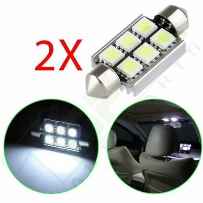 2x 39mm Canbus 6SMD 5050 LED White Car Dome Festoon Interior Light Bulbs