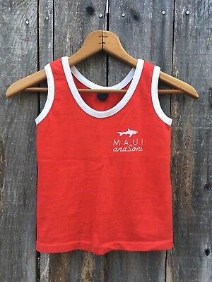 Vintage 80s 90s Maui and Sons Red Ringer Tank Top | Youth Size 5/6