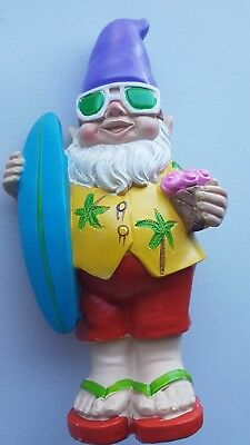 26Cm Funky Beach Garden Gnome Yellow Shirt With Board - Funny Cool Garden Gnome