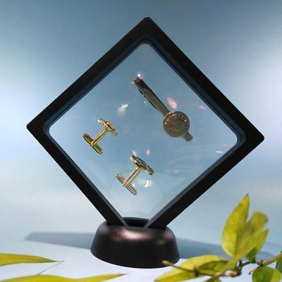 2 Size 3D Floating Frame Album Photo Coins Show Case Display Stand Holder Box