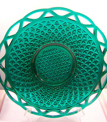 Imperial Green Lace Edge Glass Serving Dish 10 1/2""