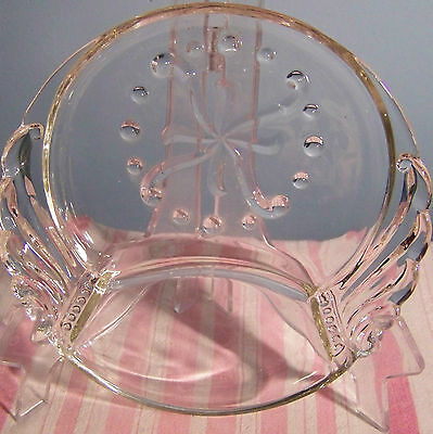 """Clear Pressed Glass Round Divided Dish 6"""""""