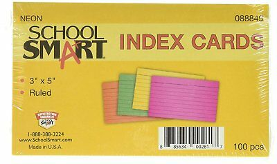 School Smart Heavyweight Ruled Index Cards - 3 x 5 inches - Pack of 100 - Neon