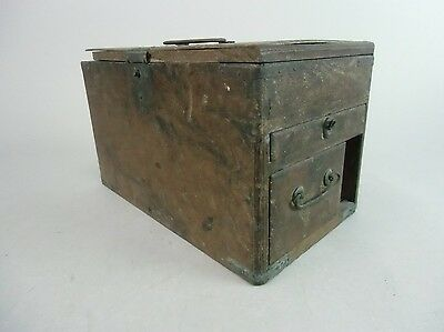 T85 Japanese Haribako Wood Metal Chest 3 Sewing Box Jewelry Antique Tansu
