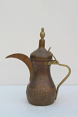 Old Antique Copper Islamic Dallah Arabic Tea Coffee Pot With Brass Handle NH1613