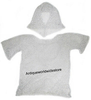 Medieval Armor Aluminum Chainmail Shirt With Coif