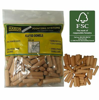 Haron 10mm Fluted Dowel - 40 or 100 Pieces - Made of Recycled Wood