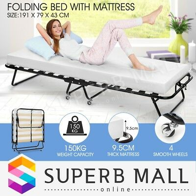 White Portable Outdoor Indoor Folding Bed with Mattress Camping Single Size