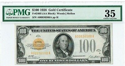 """$100 1928 """"Small Size"""" Gold Certificate PMG 35 Choice Very Fine"""