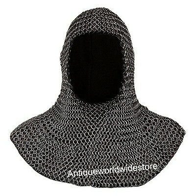 Medieval Butted Chainmail Coif Armour Chrome Finish
