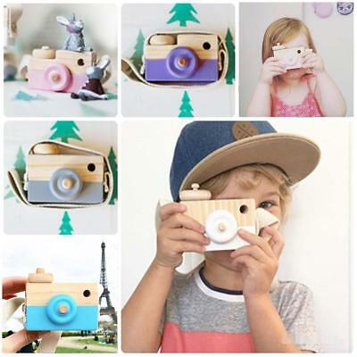 Kids Cute Wood Camera Toy Xmas Children Room Decor Natural Safe Wooden Camera XC