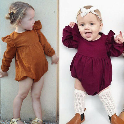 Toddler Baby Girls Clothes Outfit Long Sleeve Romper Jumpsuit Bodysuit Playsuit