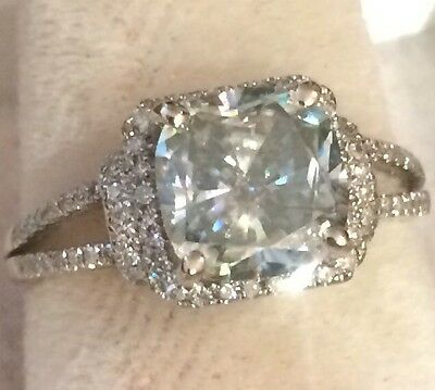 Gorgeous 2.04Ct  14K White Gold Cushion Cut Moissanite Engagement Ring Size 6.5