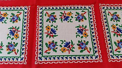 Vintage 1970s RED GREEN BLUE WHITE Floral Patchwork Look Picnic Cloth