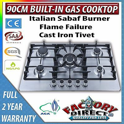 ADELCHI AGA APPROVED STAINLESS STEEL LPG - NG  90CM  900mm 5 BURNER GAS COOKTOP
