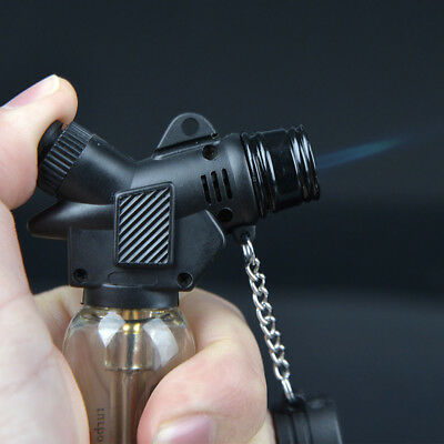 Welding Torch Refillable Windproof Gas Flame Fuel Lighter Jet with Rubber Base