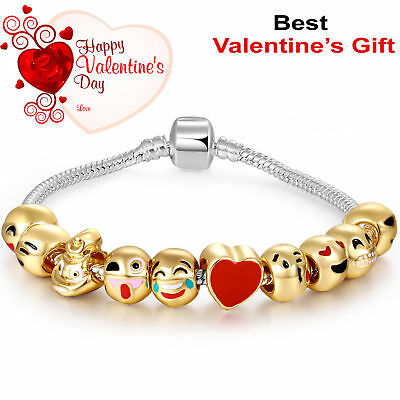 Emoji Charm Bracelet 18k Gold Plated 10 Beads Emoticon Ladies Jewellery Gift UK