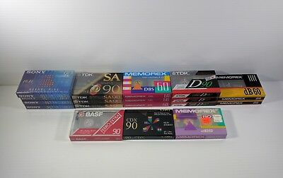Lot of 18 Blank Sealed Cassette Tapes TDK Sony Memorex Some High Bias