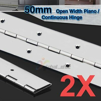 2x PIANO HINGE STAINLESS STEEL CABINET BOAT 1000mm X 50mm CONTINUOUS HINGES NEW