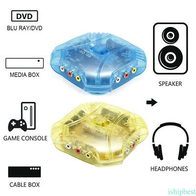 3 Way Audio Video AV RCA Switch Box Splitter Cable Game Selector Fr DVD Xbox PS2