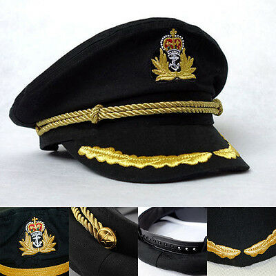 Men's Women's Navy Black Sailor Hat Officer Stag Night Nautical Captain Cap Hat