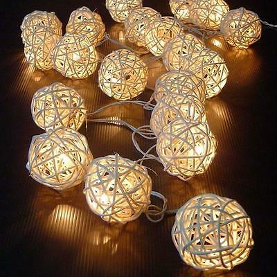 20-LED White Rattan Ball String Lamp Fairy Lights Wedding Party Indoor Decor#X2