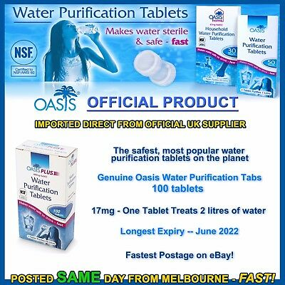 Water purification tablets Oasis 100pk cheapest tabs hiking camping prepper