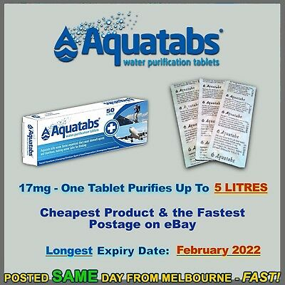 Aquatabs 100 pack water purification tablets treatment cheapest hiking camping
