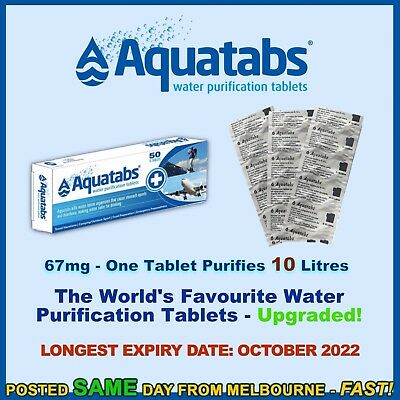 Water Purification Tablets Aquatabs 67mg treat purify tank camping prepping