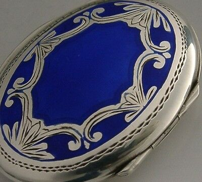 Beautiful Sterling Silver And Blue Enamel Snuff / Pill Box