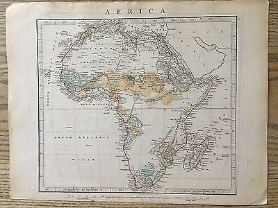 1828 Africa By Aaron Arrowsmith Hand Coloured Antique Map 189 Yrs Old