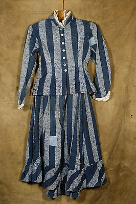 vintage antique french indigo woman suit 1880's workwear ultra rare