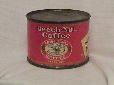 """Vintage 4 oz. Beech-Nut Paper Label """"Trial Package"""" Steel Cut Coffee Tin; RARE!!"""