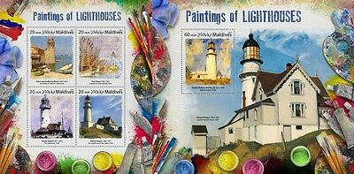 Z08 MLD17801ab MALDIVES 2017 Paintings of lighthouses MNH ** Postfrisch Set