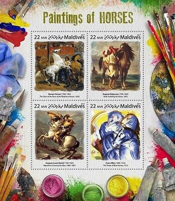 Z08 MLD17808a MALDIVES 2017 Paintings of horses MNH ** Postfrisch