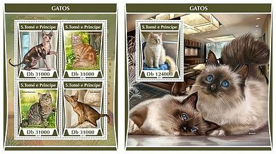 Z08 ST17315ab Sao Tome and Principe 2017 Cats MNH ** Postfrisch Set