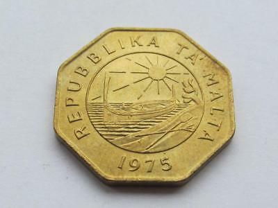 Malta - Brass 25 Cents dated 1975  Coin with some lustre and about uncirculated