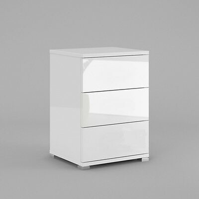 Neli 3 drawers bedside cabinets, white high gloss and white mat, PUSH TO OPEN!
