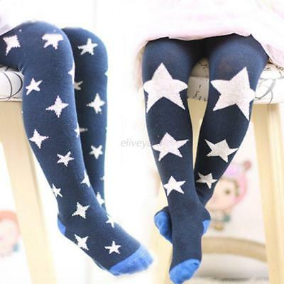 Baby Kids Girls Cotton Stars Tights Socks Stockings Pants Hosiery Pantyhose 1-7Y
