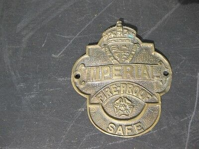 22259 Old Brass Sign Plate Advert - The Imperial Safe Plaque Metal