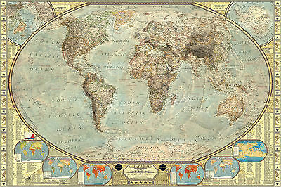 Highly Detailed Vintage World Map Large Maxi Poster Art Print 91x61 cm