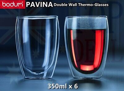 BODUM Pavina Double Wall Thermo Glasses Coffee Tea Cups 350ml 12oz set of 6