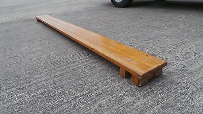 Pitch Pine 1950's Vintage Wooden Grammar School Gymnasium Bench Beam Platform